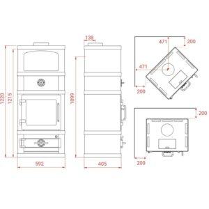 Lotus 2080 med fedtstenssider og kogesektion - måltegning.
