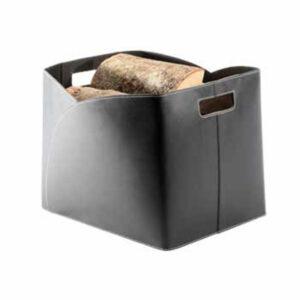 TermaTech brændekurv sort genbrugs-læder