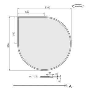 30-311 Glasgulvplade dråbe facet 6 mm
